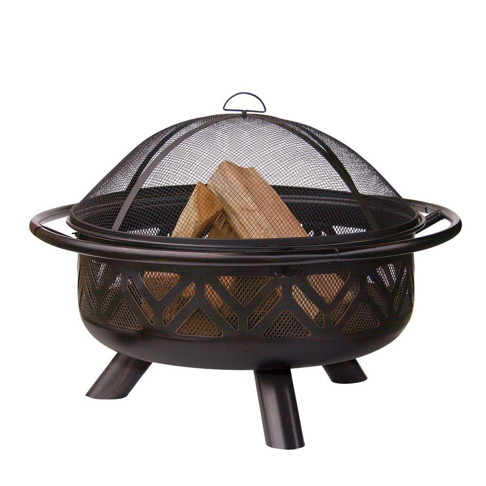 UniFlame 30 in. Geometric Design Oil Rubbed Bronze Fire Pit