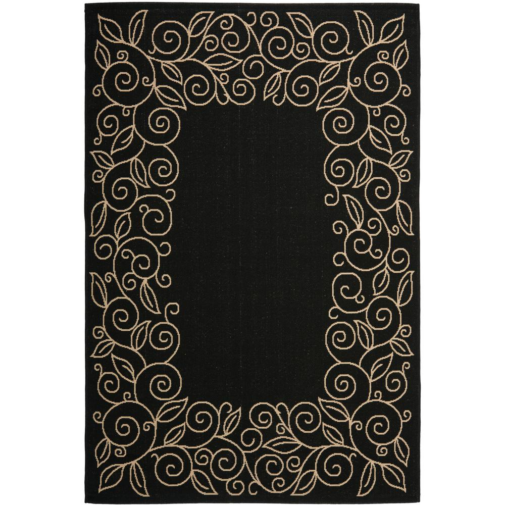 Courtyard Black/Beige 6 ft. 7 in. x 9 ft. 6 in.