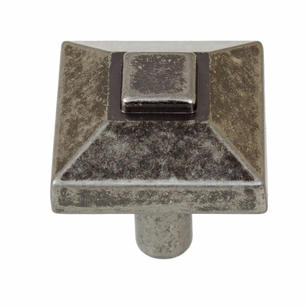 7/8 in. Weathered Nickel Square Pyramid Cabinet Knob (10-Pack)