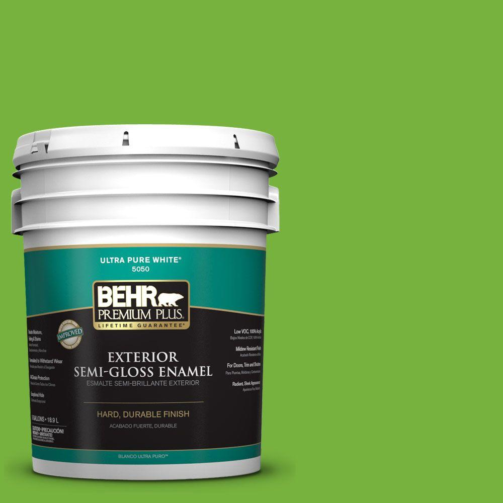BEHR Premium Plus 5-gal. #S-G-430 Sparkling Apple Semi-Gloss Enamel Exterior Paint
