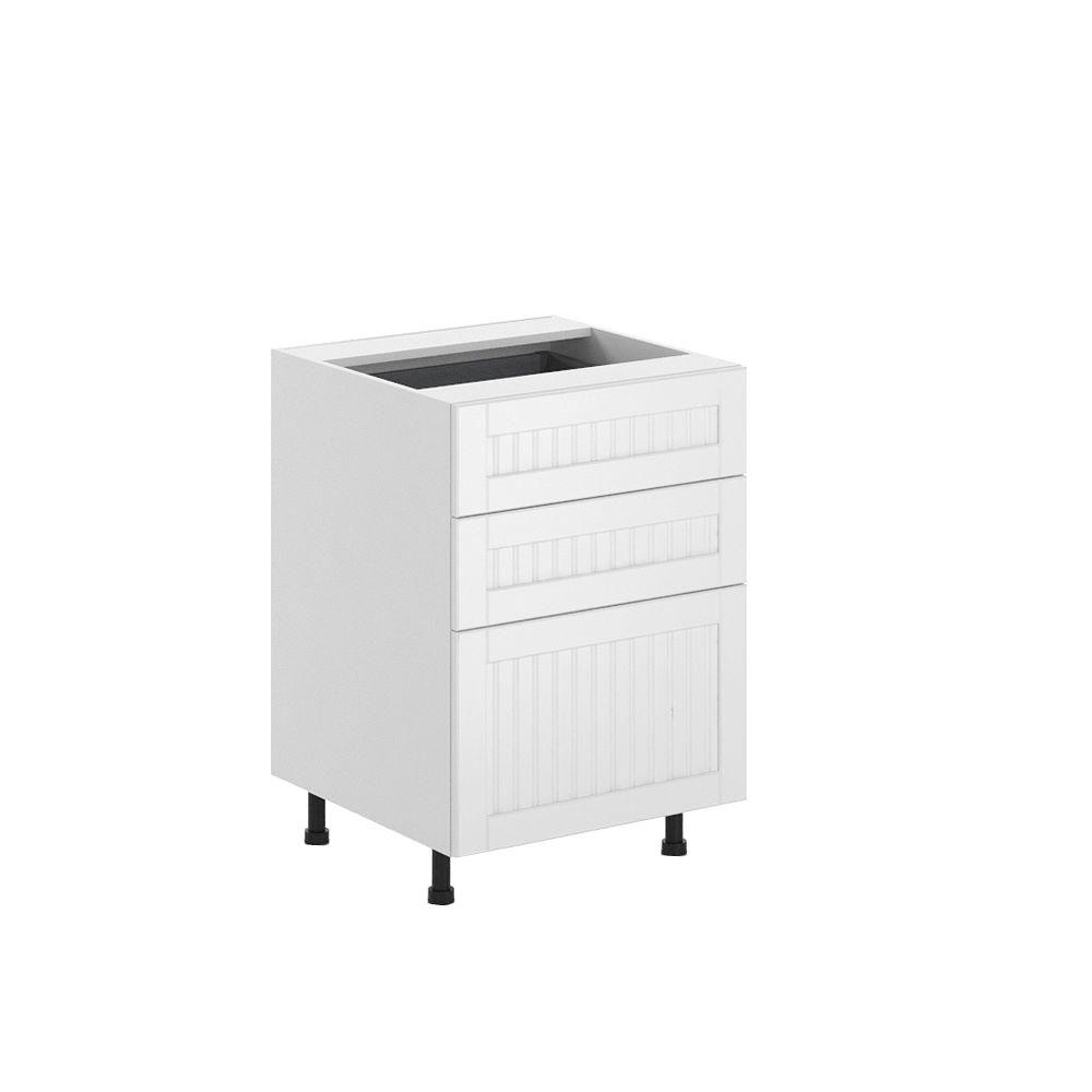 Ready to Assemble 24x34.5x24.5 in. Odessa 3-Drawer Base Cabinet in White