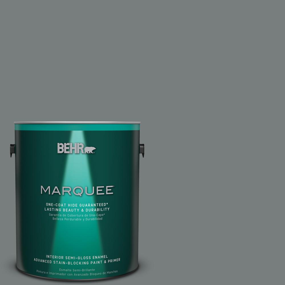 1 gal. #PPU25-18 Shutter Gray Semi-Gloss Enamel Interior Paint