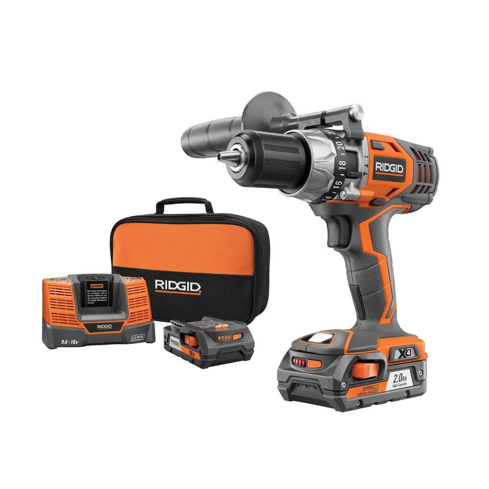 RIDGID X4 18-Volt 1/2 in. Hyper Lithium-Ion Cordless Hammer Drill/Driver Kit