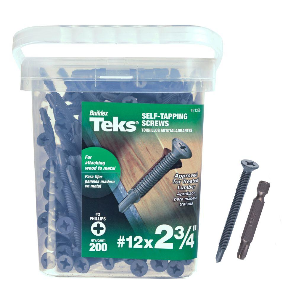Teks #12 x 2-3/4 in. Plymetal Zinc-Plated Steel Flat-Head Phillips Self-Tapping Screws with Wings (200-Pack)