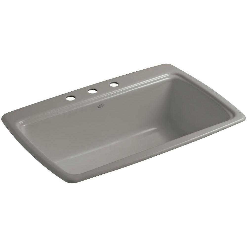 Cape Dory Drop-In Cast-Iron 33 in. 3-Hole Single Basin Kitchen Sink