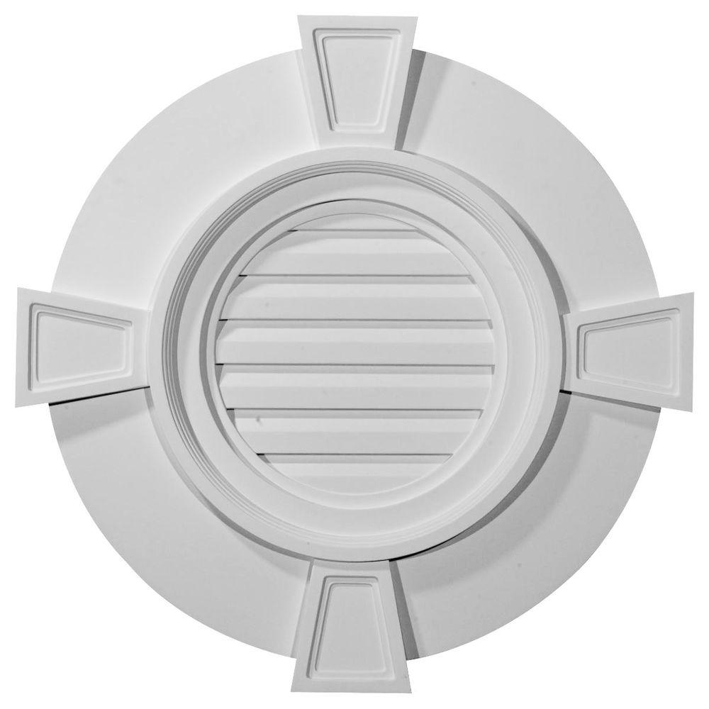 Ekena Millwork 2-1/4 in. x 24 in. x 24 in. Decorative Round Gable Vent with Keystones