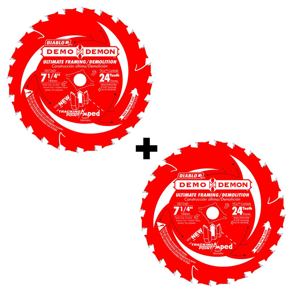 7-1/4 in. 24-Tooth Demo Demon Tracking Point Amped Saw Blade (2-Pack)