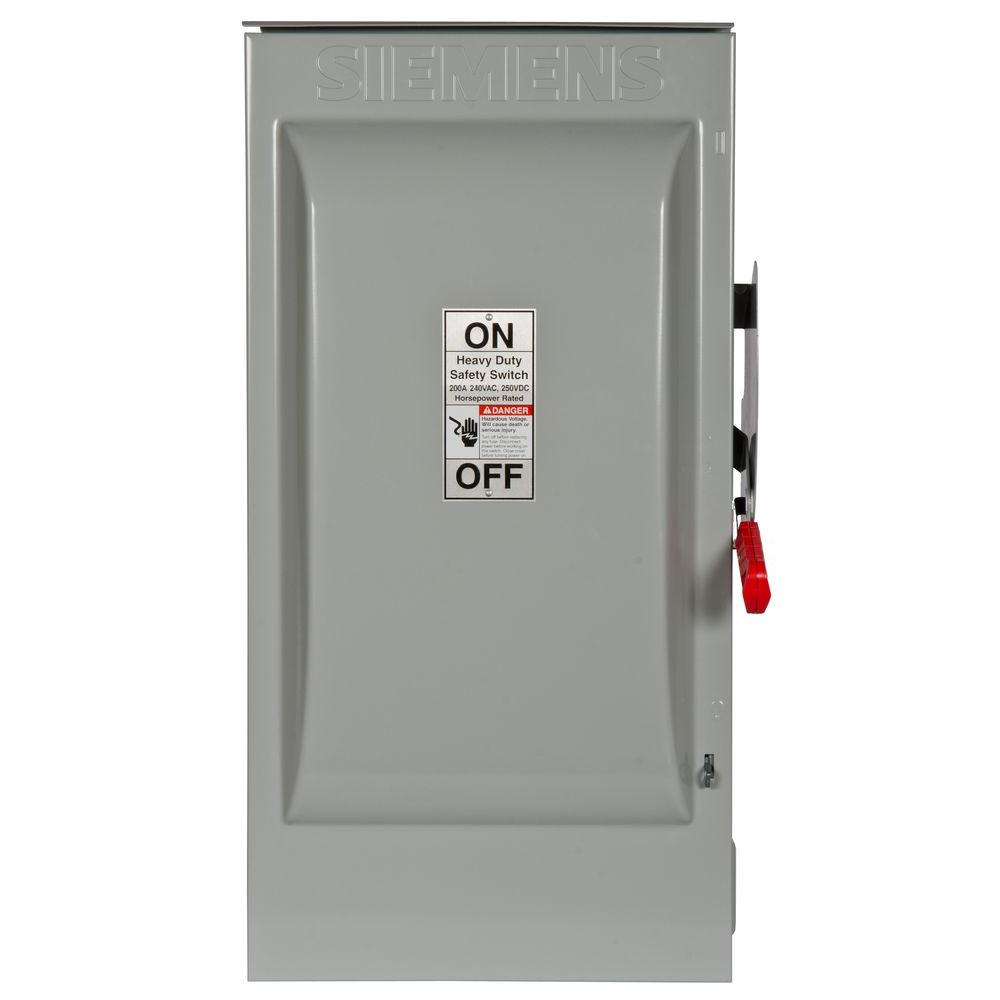 Siemens Heavy Duty 200 Amp 240-Volt 2-Pole Outdoor Fusible Safety Switch-HF224NR