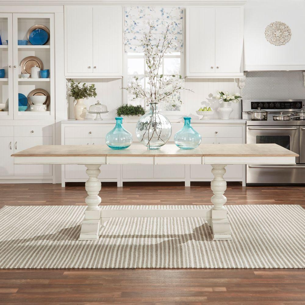 Margot Antique White And Oak Extendable Dining Table