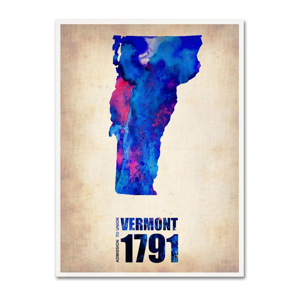 19 in. x 14 in. Vermont Watercolor Map Canvas Art