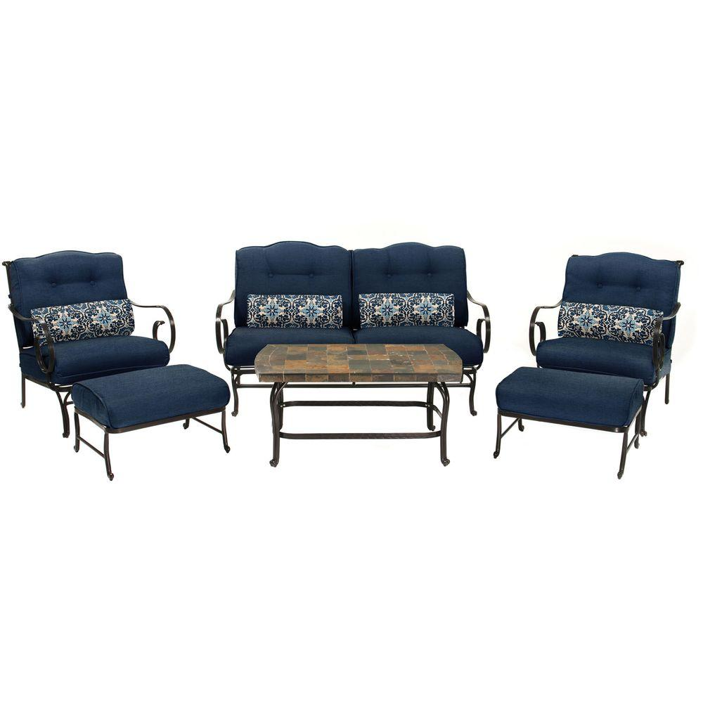 Hanover Oceana 6-Piece Patio Seating Set with a Stone-Top Coffee Table