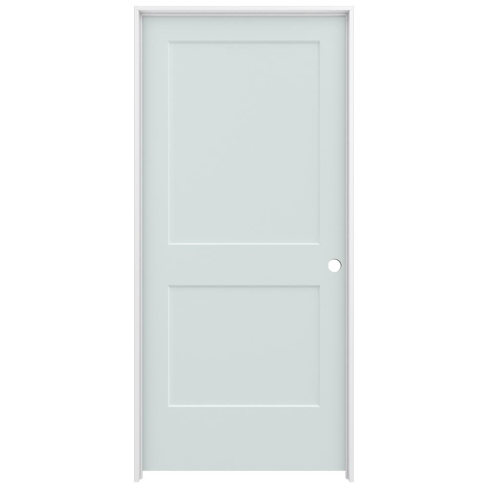 36 in. x 80 in. Smooth 2-Panel Light Gray Solid Core