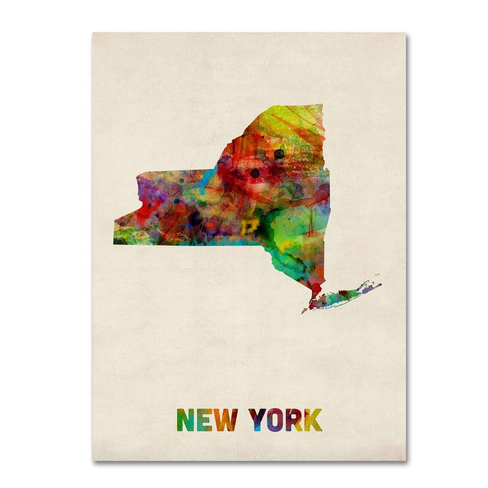 19 in. x 14 in. New York Map Canvas Art