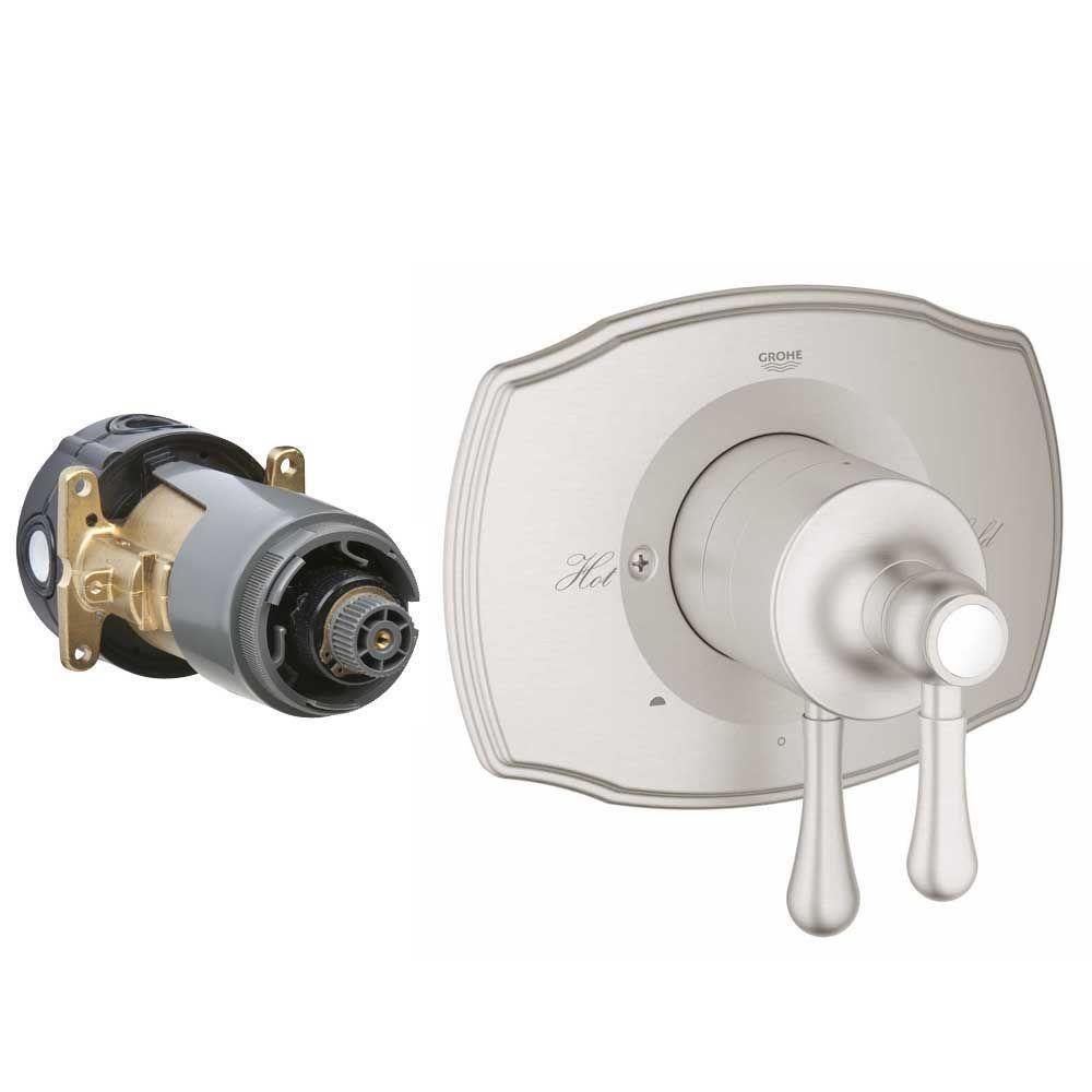 GROHE GrohFlex Authentic 2-Handle Dual Function Pressure Balance Valve Trim Kit in Brushed Nickel (Valve Sold Separately)