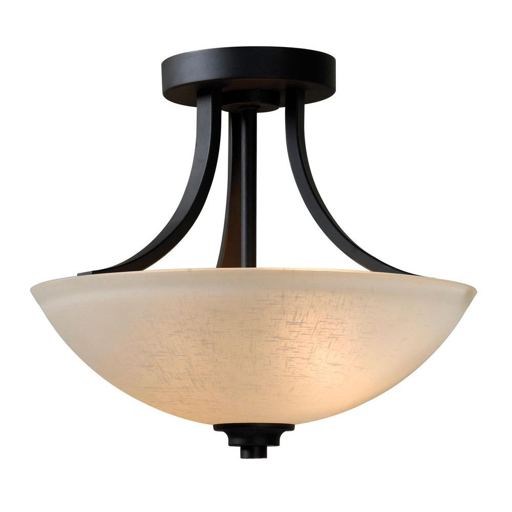 null Dynasty 2-Light Burnished Bronze Semi-Flush Mount Light with Amber Linen Glass Shade