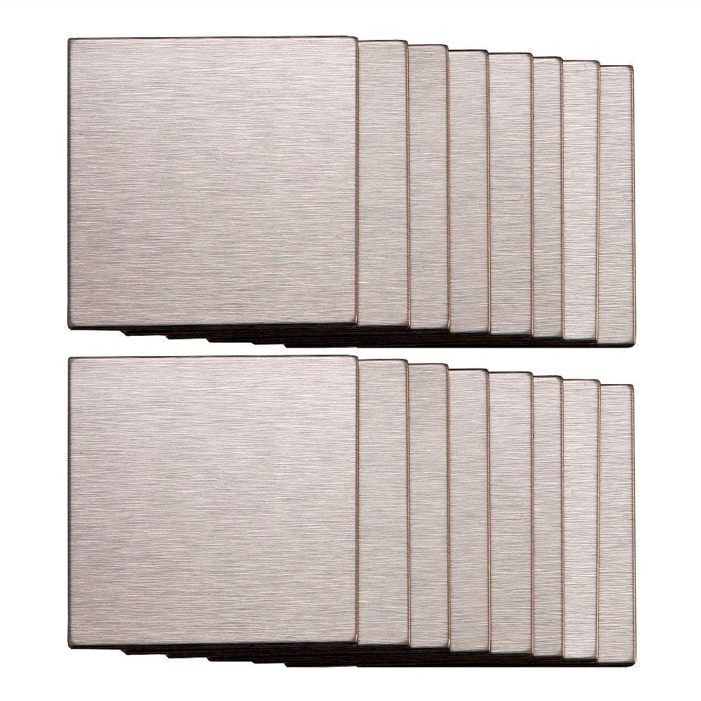 Aspect 3 in. x 3 in. Metal Backsplash Tile in Course Stainless (16-Pack)-DISCONTINUED