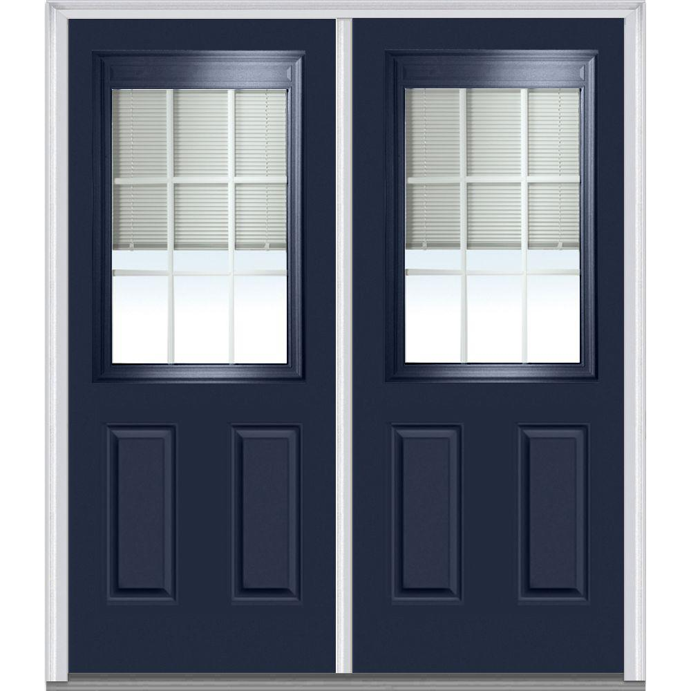 Mmi Door 72 In X 80 In Internal Blinds And Grilles Right Hand 1 2 Lite 2 Panel Classic Painted