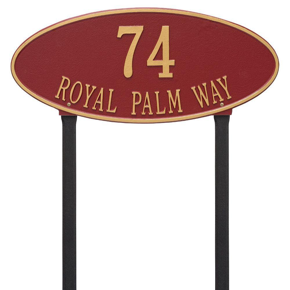 Whitehall Products Madison Oval Estate Lawn 2-Line Address Plaque - Red/Gold
