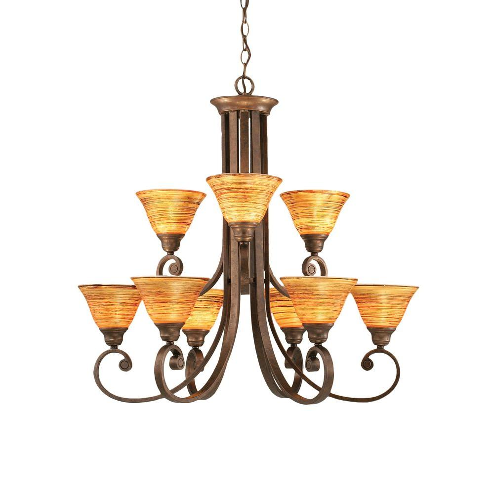 Concord 9-Light Bronze Chandelier with Firre Saturn Glass Shade