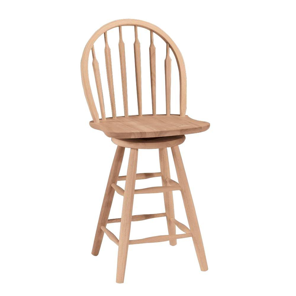International concepts 24 in unfinished wood swivel bar stool s 612 the home depot Home depot wood bar stools