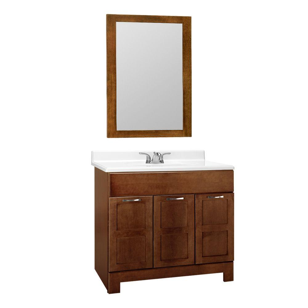 null Casual 36 in. W x 21 in. D Vanity Cabinet with Mirror in Cognac