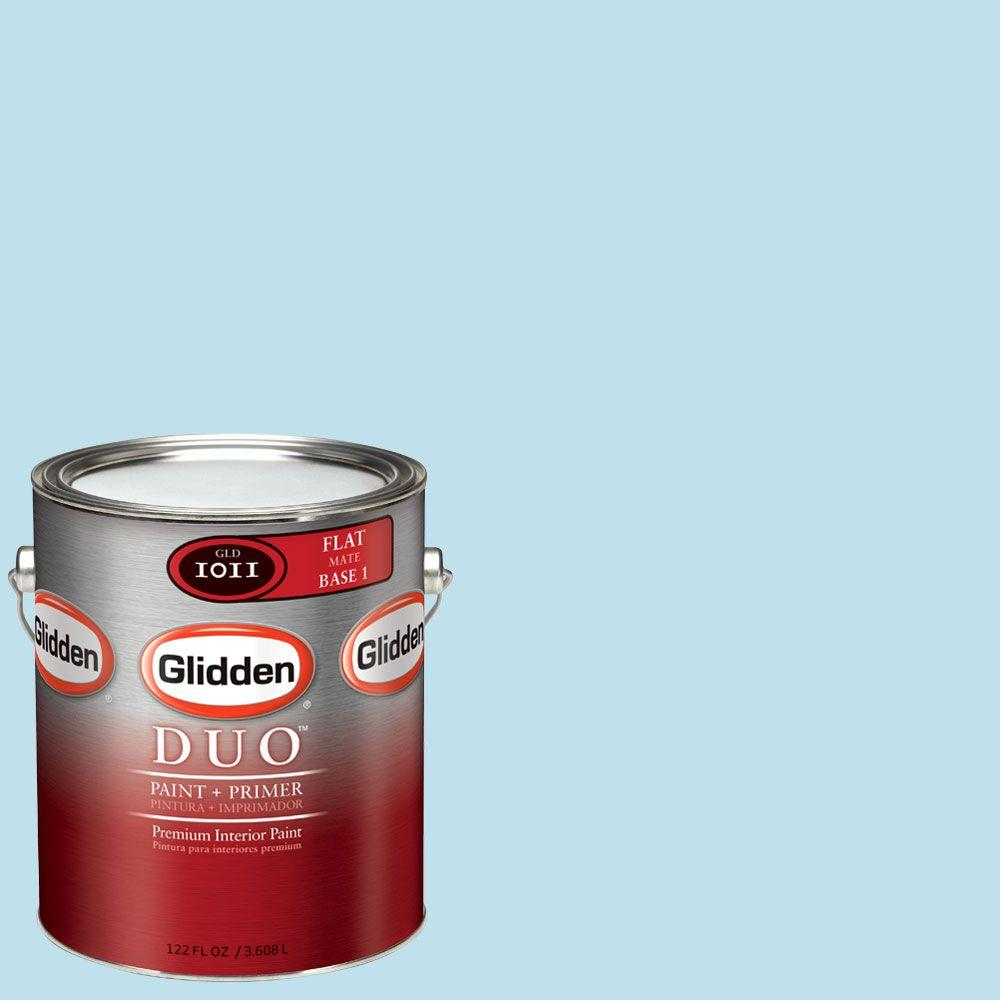 Glidden DUO 1-gal. #GLB15-01F Clear Blue Sky Flat Interior Paint with Primer