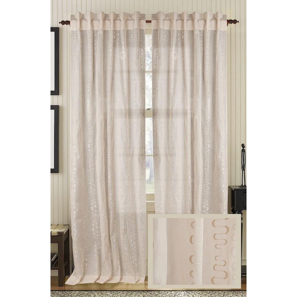 Fine Living Bleached Sand LUSTRE Cotton Org Rod Pocket Curtain - 50 in.W x 96 in. L