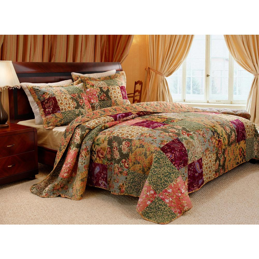 Greenland Trading Antique Chic 3-Piece Multi King Quilt Set