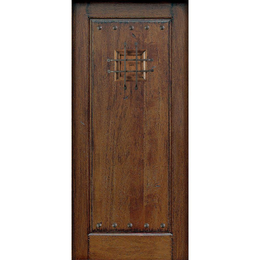 Main Door 36 in. x 80 in. Mahogany Type Prefinished Distressed Solid Speakeasy Rustic Finished Wood Front Door Slab