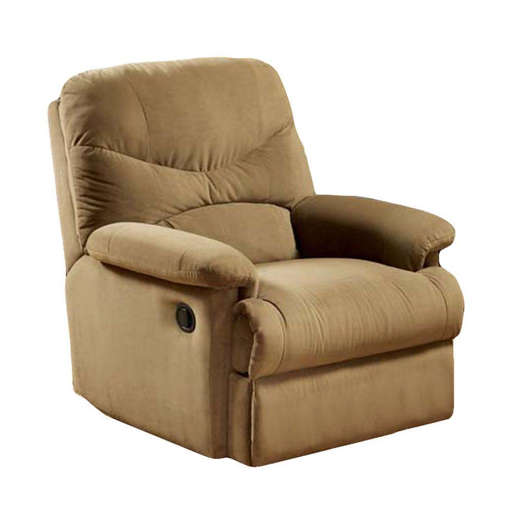 Home Decorators Collection Dallin Light Brown Microfiber Recliner-DISCONTINUED