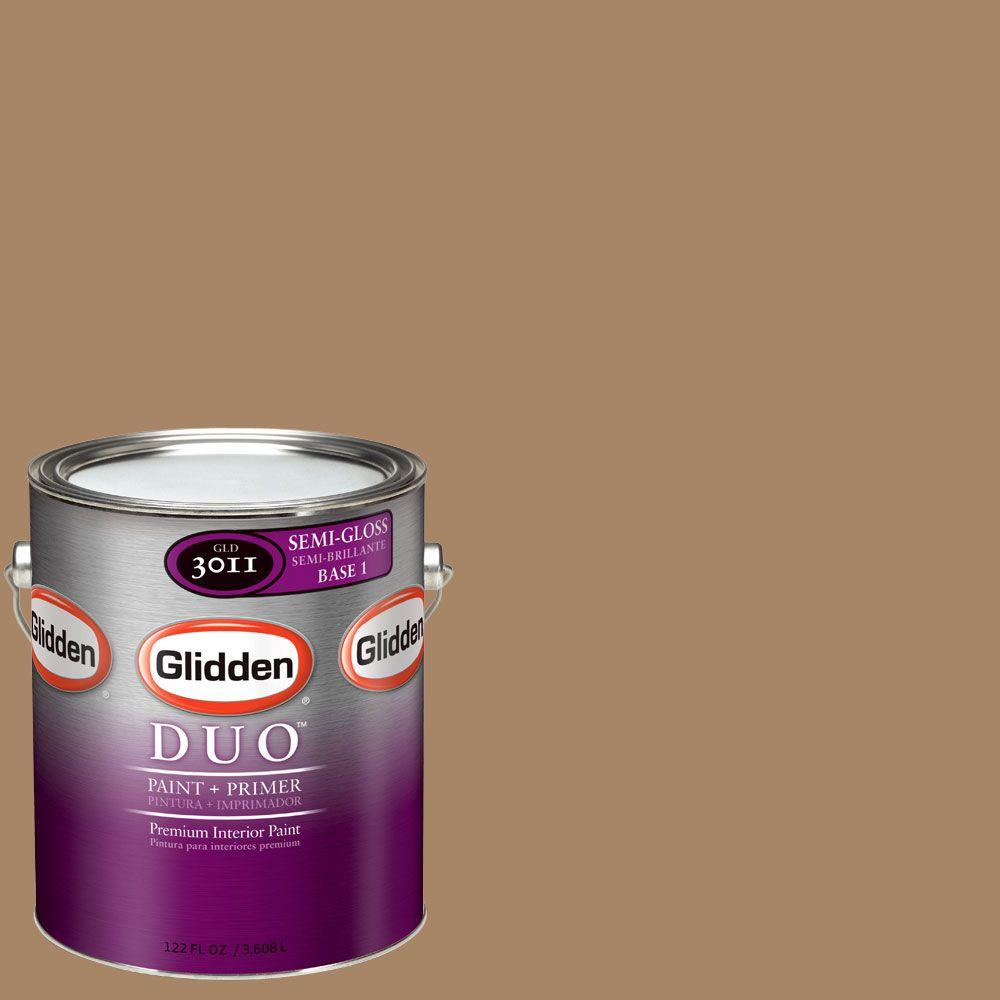 Glidden DUO 1-gal. #GLN02 Gentle Fawn Semi-Gloss Interior Paint with Primer