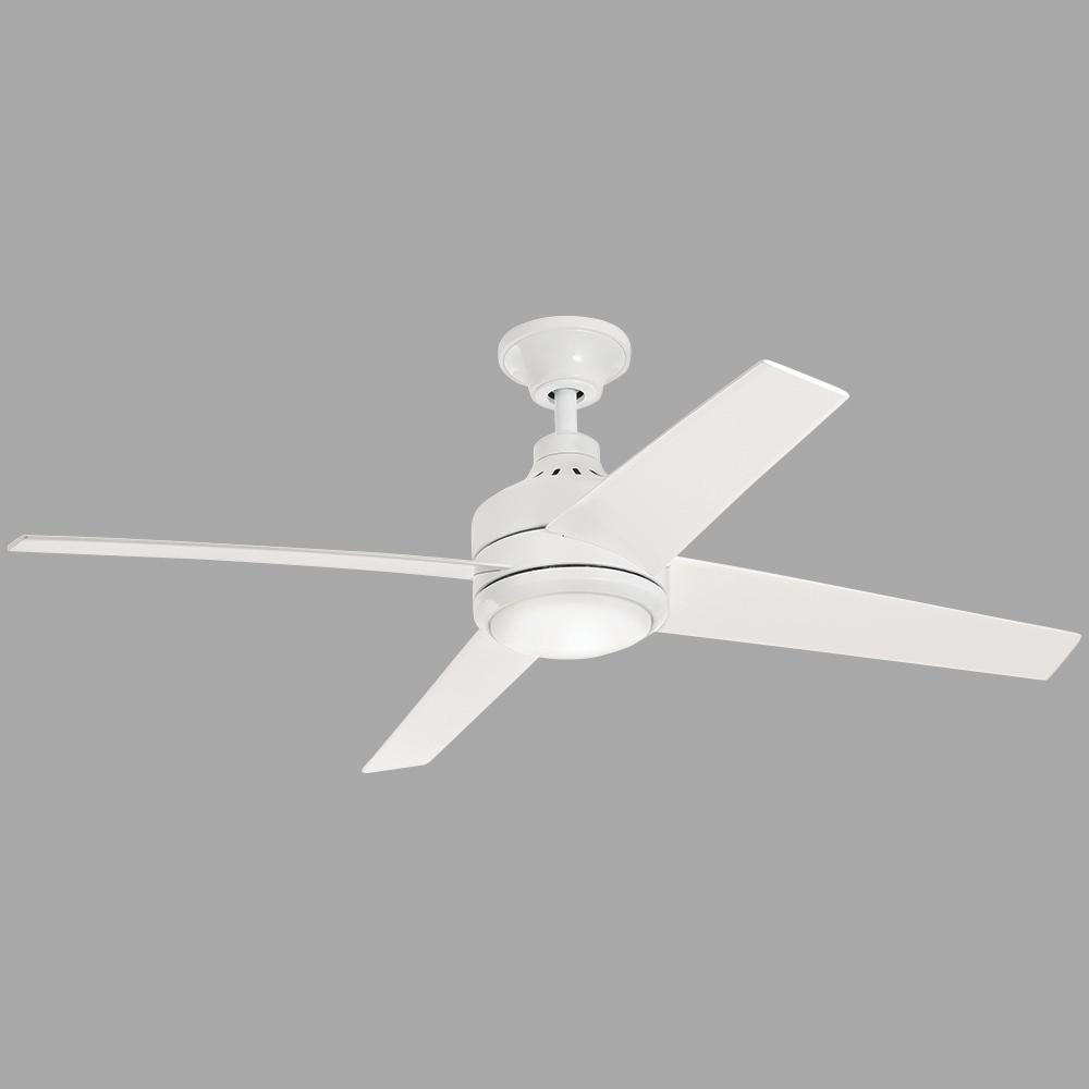 Home Decorators Collection Mercer 52 In Led Indoor White Ceiling Fan 54727 The Home Depot
