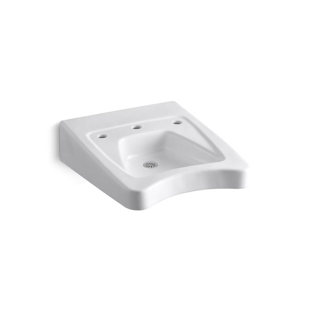 KOHLER Morningside Wall-Mount Vitreous China Bathroom Sink in White with