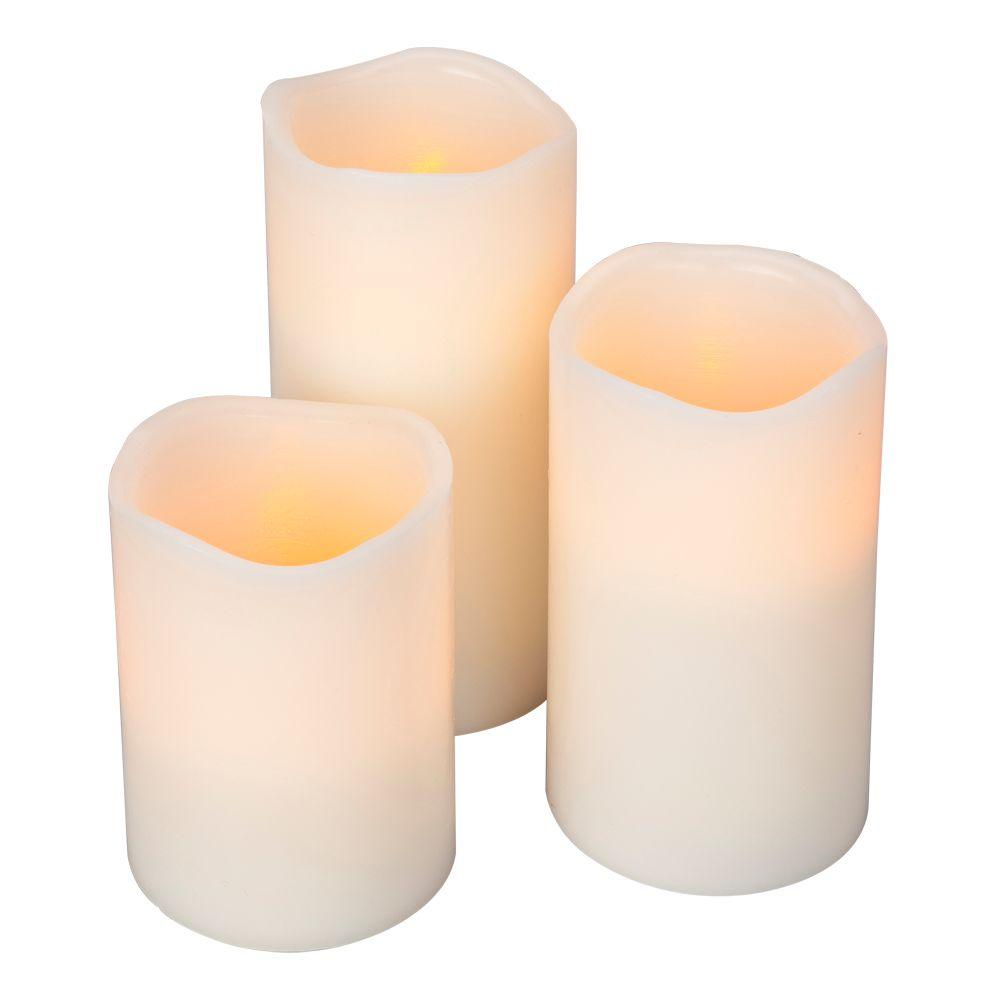 Home Accents Holiday Flameless Timer Pillar Bisque Color Candles with Wavy