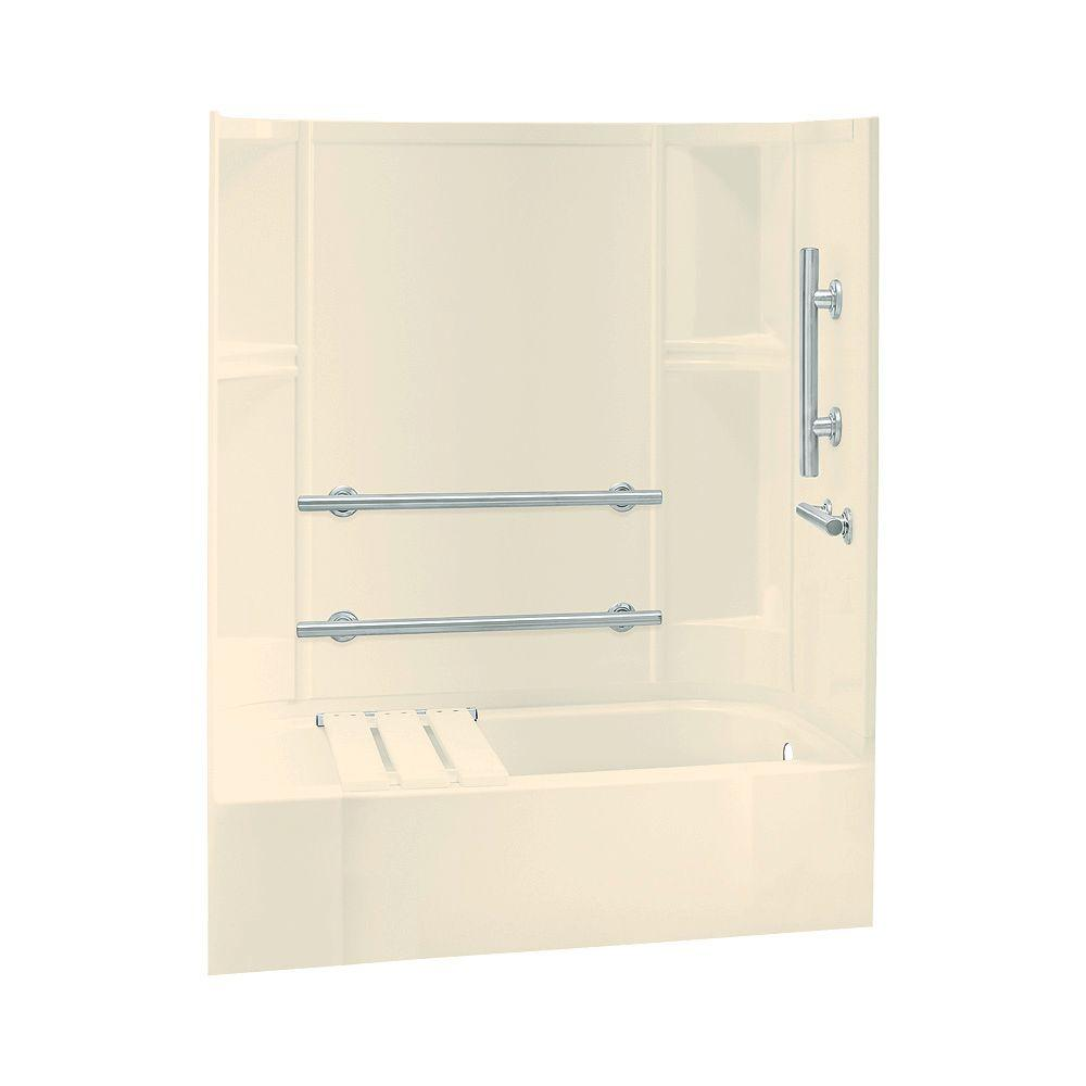 STERLING Accord 30 in. x 60 in. x 72 in. Four Piece Direct-to-Stud Bath and Shower Kit in Almond-DISCONTINUED
