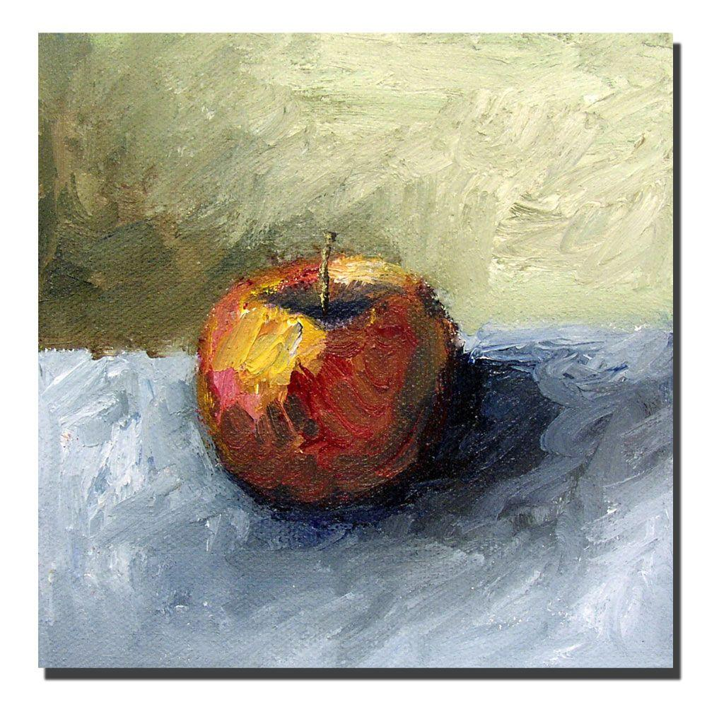 Trademark Fine Art 35 in. x 35 in. Apple Still life with Grey and Olive Canvas Art