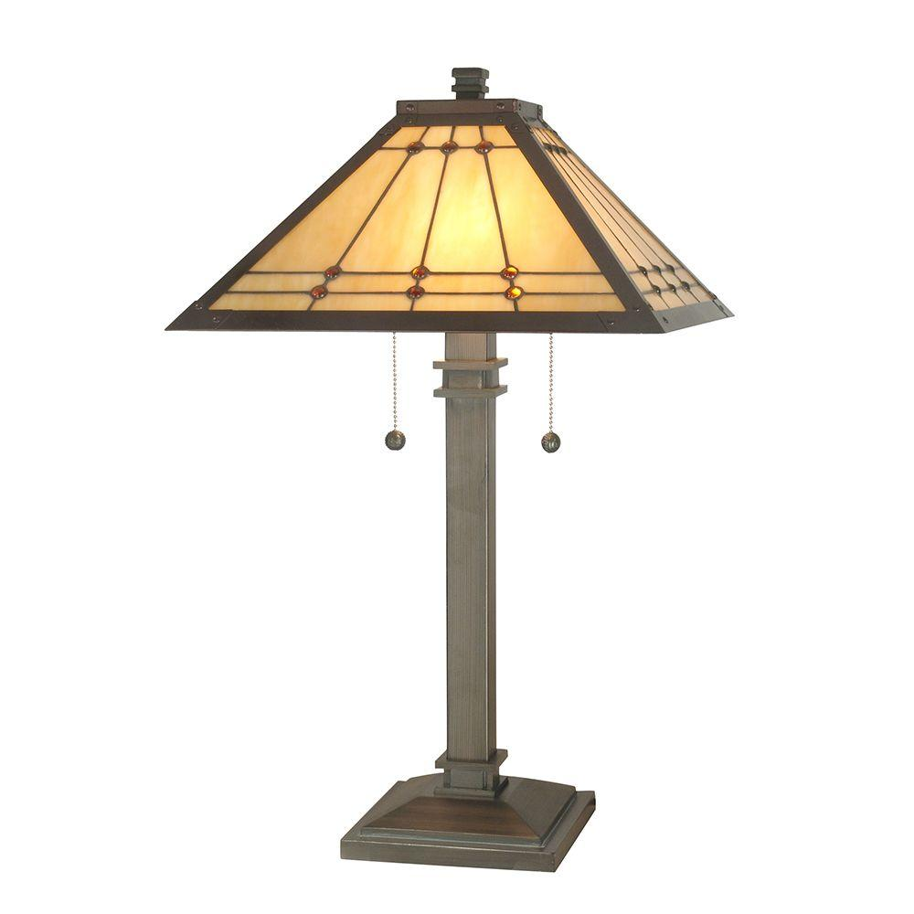Dale Tiffany 26.25 in. Jeweled Mission Mica Bronze Table Lamp-TT70734 -