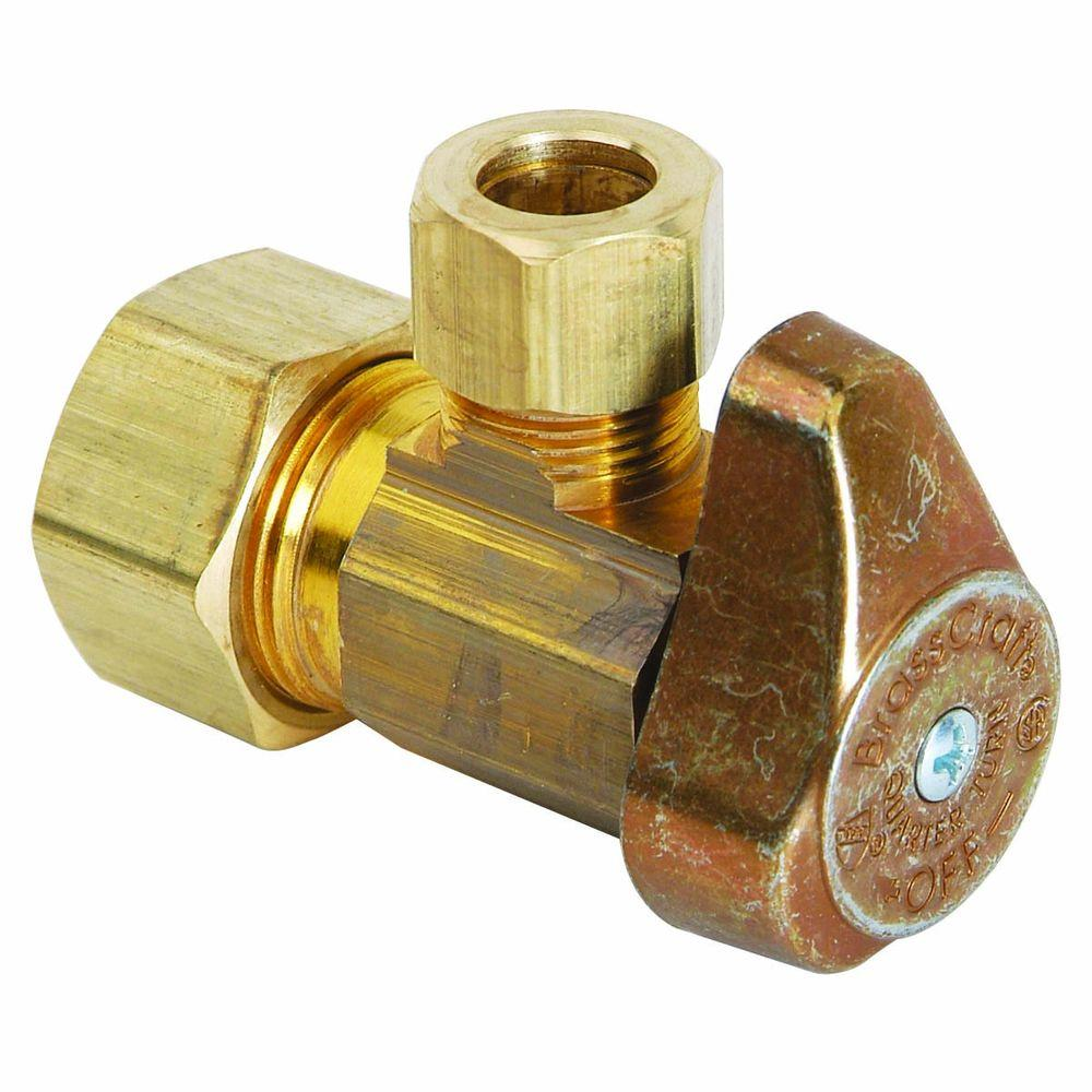 BrassCraft 1/2 in. Nominal Compression Inlet x 3/8 in. O.D. Compression Outlet Brass 1/4-Turn Angle Valve (5-Pack)