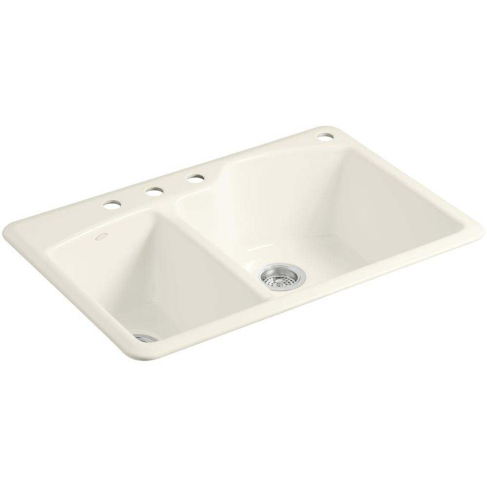 Wheatland Top Mount Cast-Iron 33 in. 4-Hole Double Bowl Kitchen Sink in Biscuit