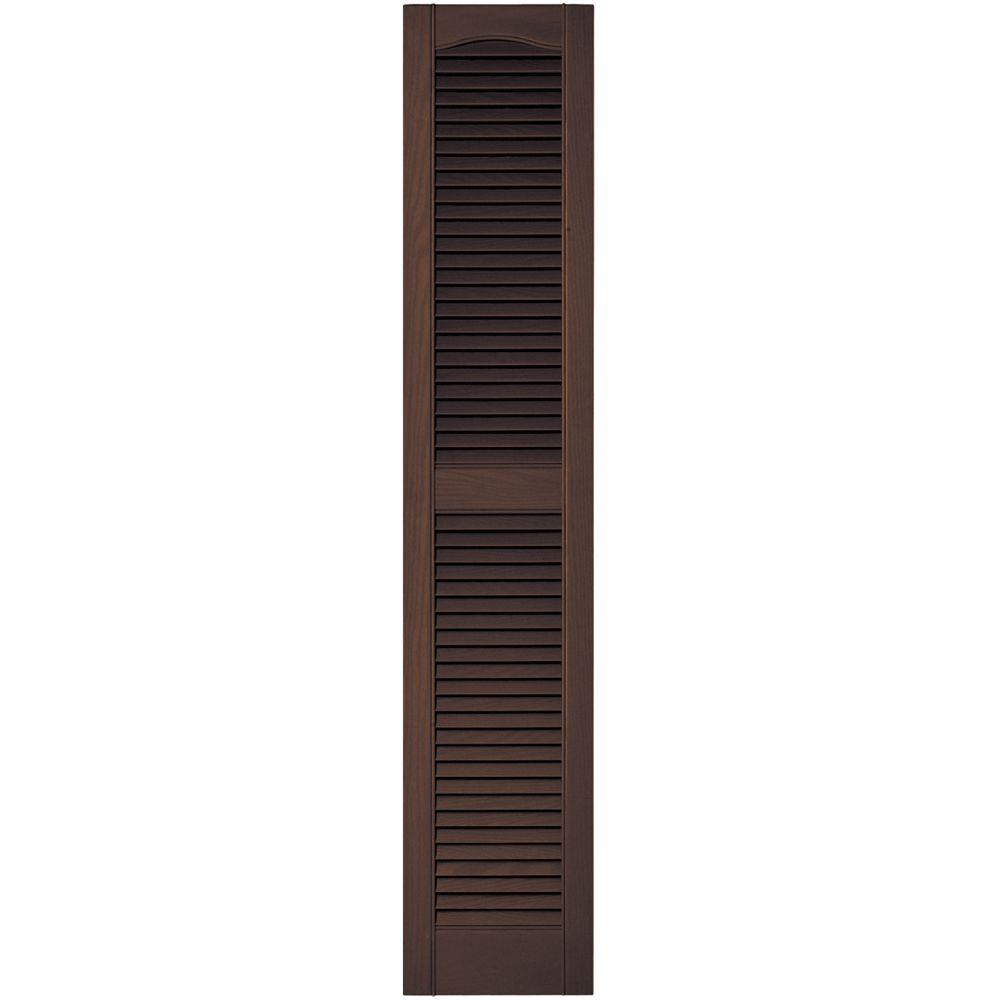 Builders Edge 12 in. x 60 in. Louvered Vinyl Exterior Shutters Pair in #009 Federal Brown