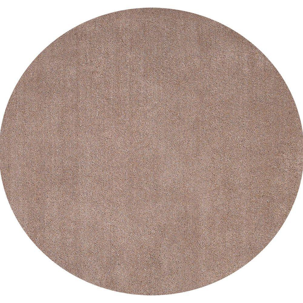 Cozy Shag Beige 8 ft. x 8 ft. Round Area Rug