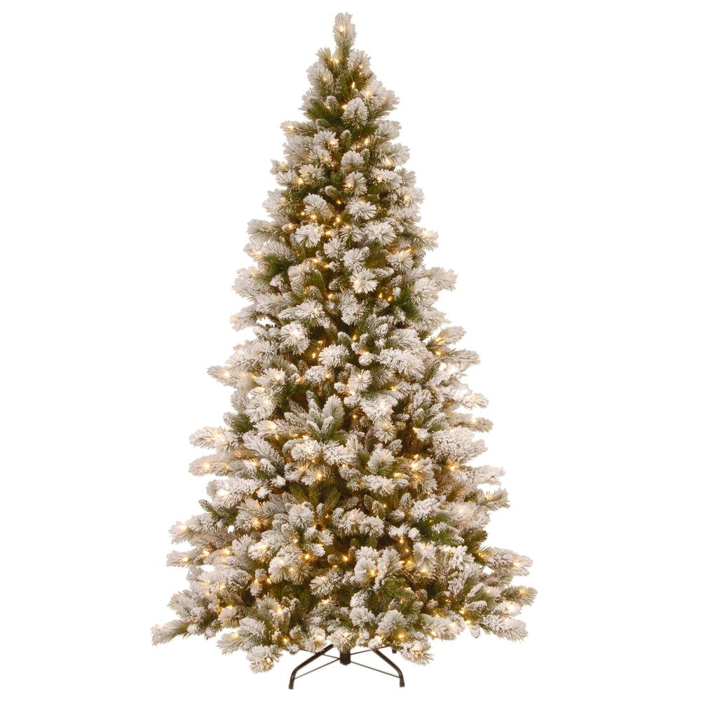 National Tree Company 7-1/2 ft. Snowy Westwood Pine Hinged Artificial Christmas