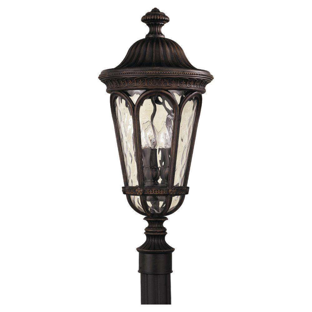 Regent Court 3-Light Walnut Outdoor Post Light