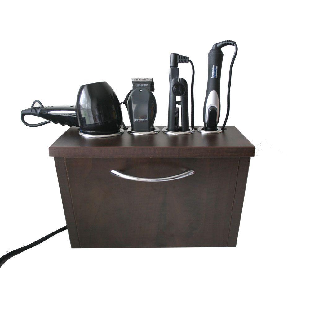 Wall Mount Hair Appliance Storage System in Java Laminate