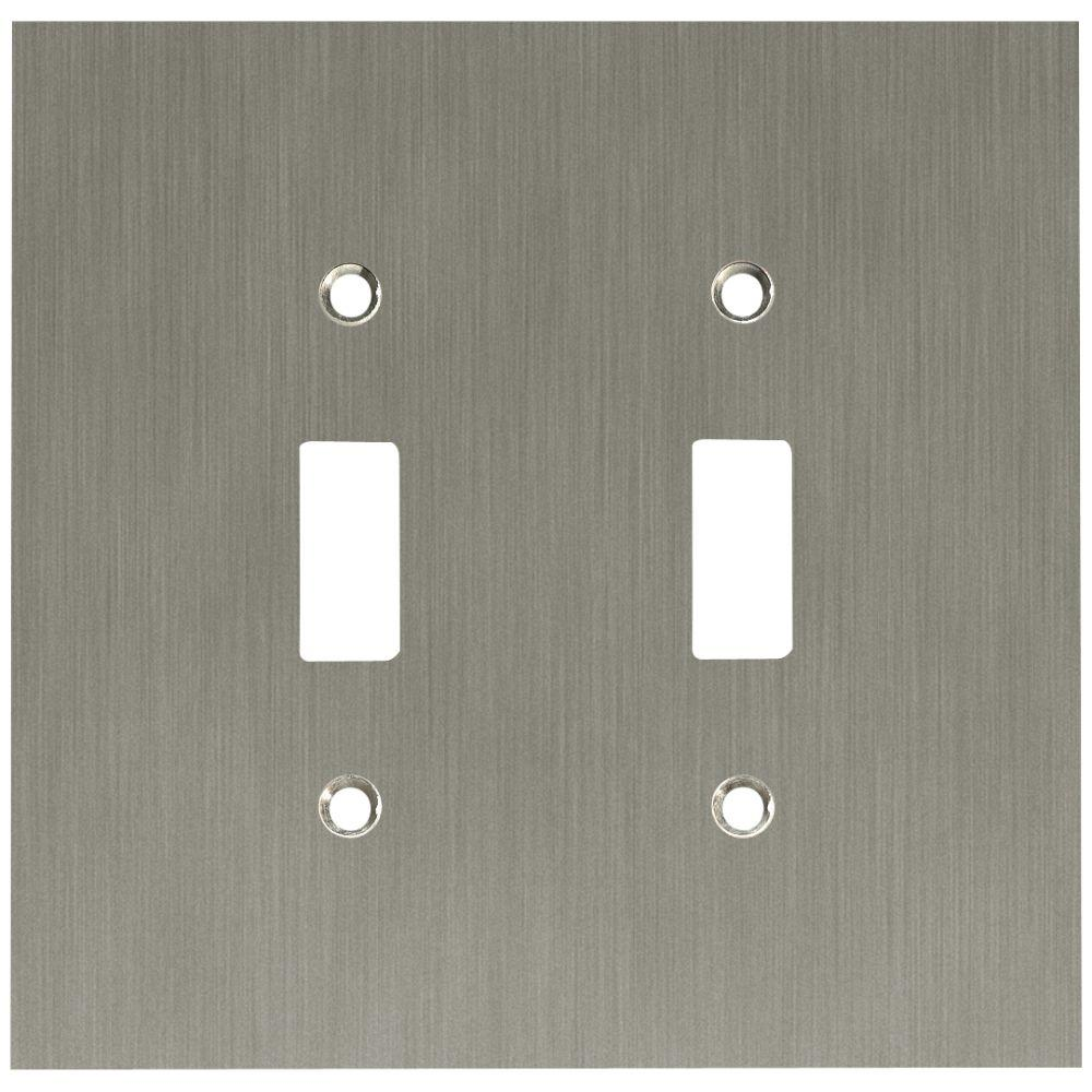 Concave Decorative Double Switch Plate, Satin Nickel