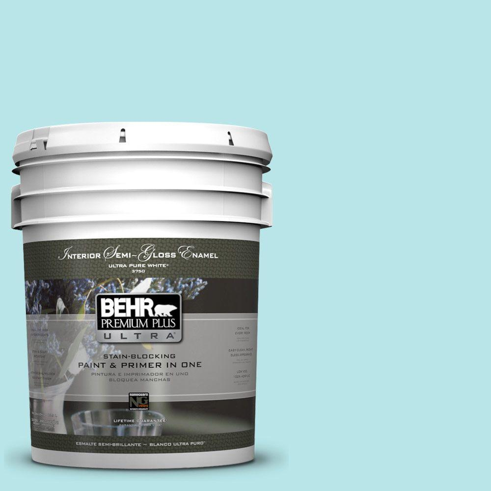 Interior Paint, Exterior Paint & Paint Samples: BEHR Premium Plus Ultra Paint 5-gal. #500A-2 Refreshing Pool Semi-Gloss Enamel Interior Paint 375005