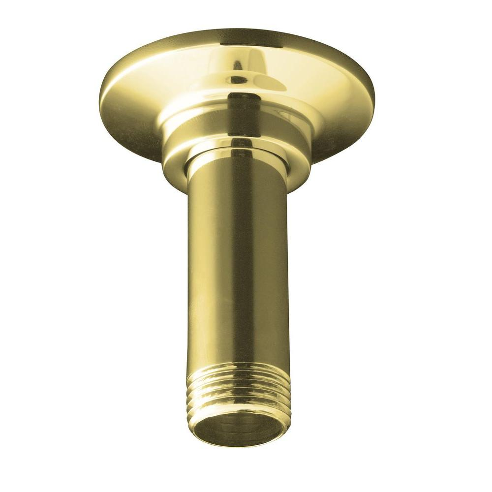 KOHLER 3 in. Straight Ceiling-Mount Shower Arm and Flange in Vibrant Polished Brass-DISCONTINUED