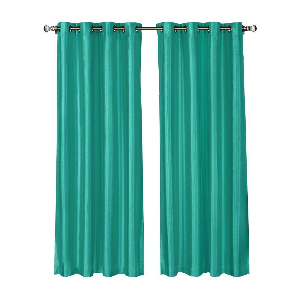 Window Elements Jane Faux Silk 54 In W X 84 In L Grommet Extra Wide Curtain Panel In Turquoise