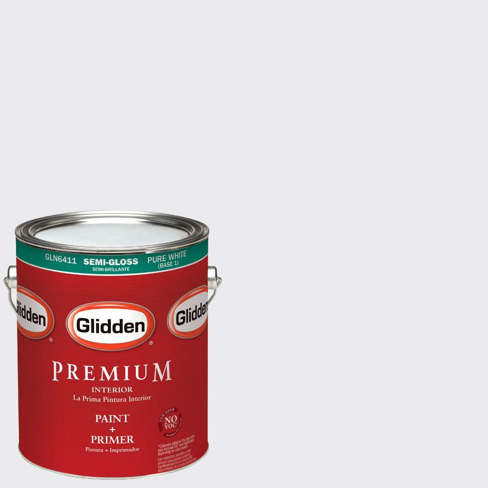 1 gal. #HDGV30U Majestic Mountain White Semi-Gloss Interior Paint with Primer