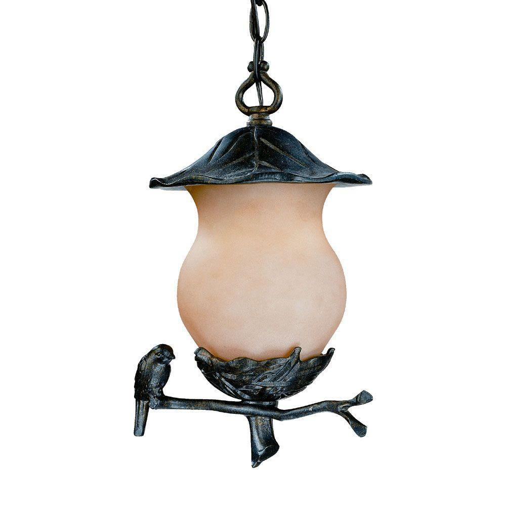 Acclaim Lighting Avian Collection Hanging Outdoor 2-Light Black Gold Light Fixture-DISCONTINUED